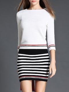 AZIMAO White Two Piece Stripes Casual Bodycon Sweater Dress stylewe
