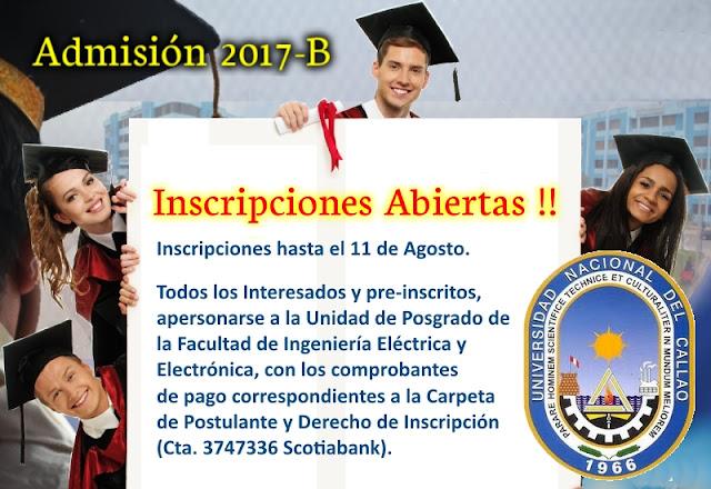 Inscripciones Abiertas - Admisión 2017-B