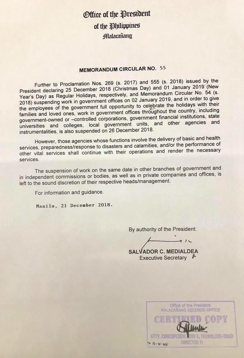 #WalangPasok: Palace suspends gov't work on December 26, 2018