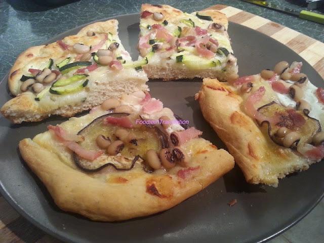 La rubrica del lunedì: pizza zucchine/melanzane, bacon e fagioli