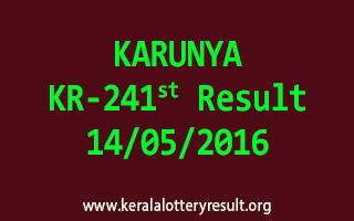 KARUNYA KR 241 Lottery Result 14-5-2016