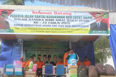 Kemenag Tanjungbalai Sambut Peserta Gerak Jalan Dengan Lucky Draw