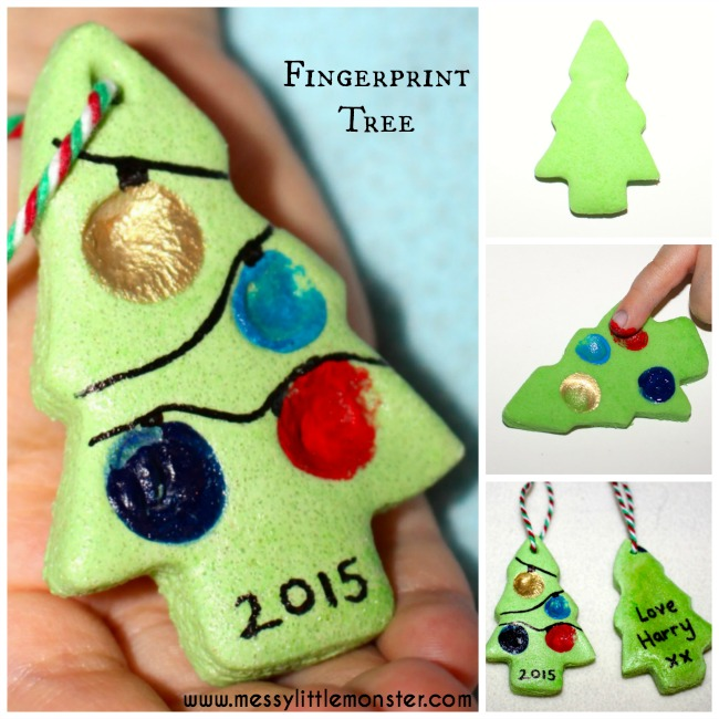 Salt dough fingerprint christmas tree ornament, gift tag or keepsake. An easy Christmas craft idea for toddlers, preschoolers or older kids.