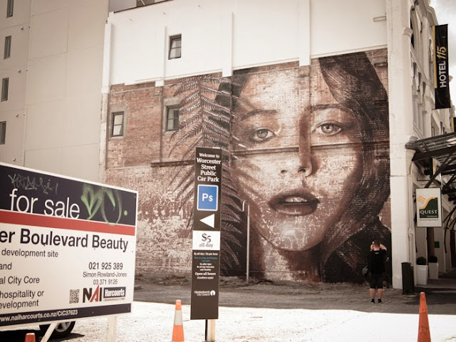 New Street Art Mural By Australian Artist RONE on the streets of Christchurch, New Zealand 3