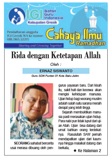 Tulisan Hari ke-8 Program Cahaya Ilmu Ramadhan tahun 2019