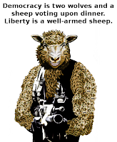 Cartoon of a well-armed sheep, by Wendy Cockcroft