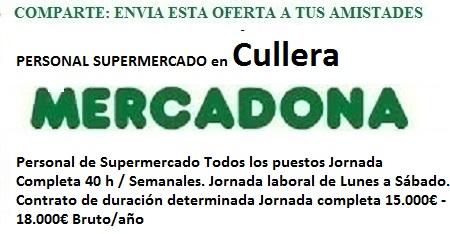 Cullera, Valencia. Lanzadera de Empleo Virtual. Oferta Mercadona