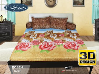 Sprei california 3D Rose & Tiger