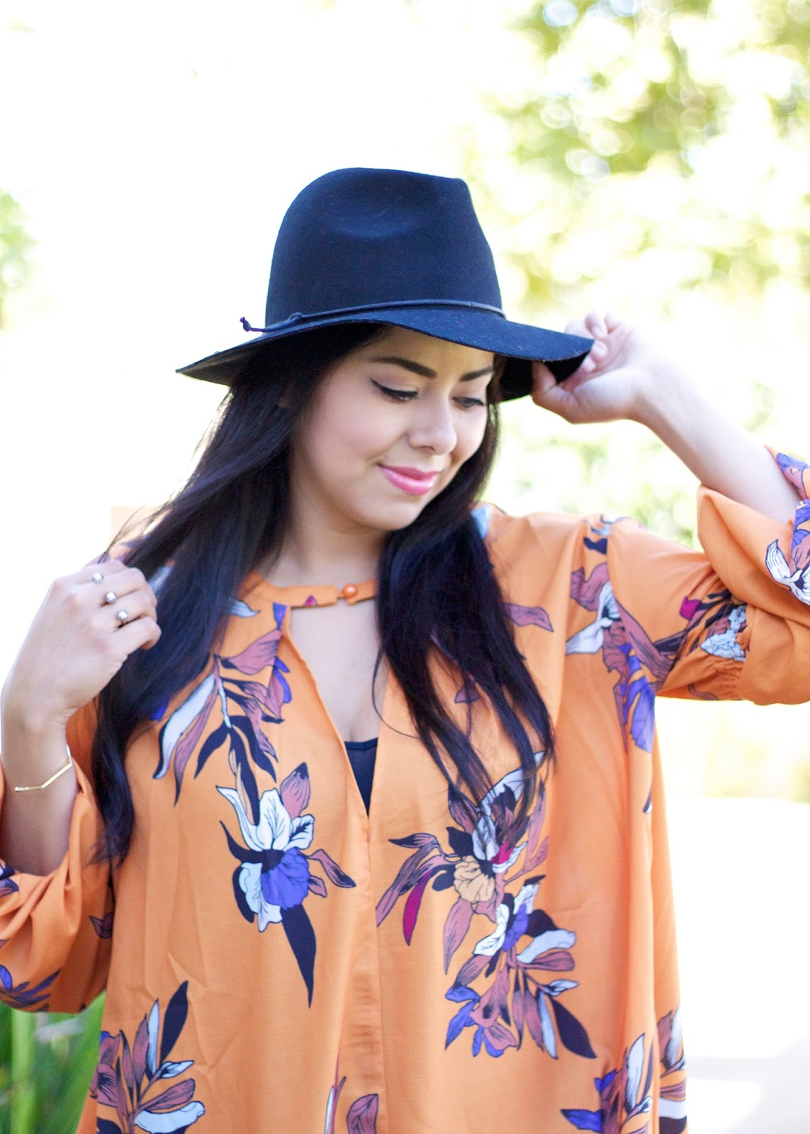 Boho vibes in an outfit, kendra scott two finger ring, kendra scott orange county, gorjana hexagon cuff, target style fedora hat
