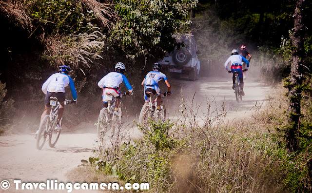 So called 'India's toughest bicycling challenge', MTB Himalaya is again back with a new shape. This probably 8th MTB event by HASTPA which starts from Shimla and end in same city after 8 days of thrilling experience in Himalayan terrains. Let's check out this Photo Journey and know more about this event.All these photographs are from 2011 event of MTB Himachal. This time, HASTPA has come up with different name which sounds more interesting. Now onwards, this event will be called as Mountain Terrain Biking Himalaya. This year, it's starting on 29th September from Shimla and will be concluded on 6th October 2012.  MTB Himalaya also offer you to bring your near and dear along with you as supporters. I think, there is some limit on number of supporters and of course some fees for each. In this case supporters are supposed to arrange their own transportation from one stage to another. But of-course, right company can make this whole experience more beautiful. During these 8 days, all riders crossed various downhills, uphills, tar and rough roads etc... Whole journey is mix of experiences. This event is organized by HASTPA and Himachal Tourism  - MTB Himalaya 2012... MTB Himalaya is about riding your bicycle through uncharted interiors, hike through deep forests, soak in the sun and experience nature all around. Pedal your way through gut wrenching uphills, dangerous downhills, village back roads, beautiful meadows, thick vegetation, jeep tracks and savor real mountain biking as you live through 9 days of adventure racing covering 500 km/380 miles, 3250 mt above sea level and take on the Himalayan Challenge.  The adventure commences in Shimla as the race is flagged off on 29th September and registrations/briefings are done the day before, means on 28th September 2012. The next 8 days put riders through obstacles and test their perseverance.    There are five categories in MTB Himalaya 20121. Open Men Solo2. Open Women Solo3. Open Masters (age 40 and above) Solo4. Teams of two5. Weekend RiderMore Information about Participation in MTB Himalaya 2012 -The minimum age of participation in any category is 18 years. and Entries open on 1st March and close on 15th September 2012It's also a place to meet passionate folks from different walks of life.  Here are some details about FEES for MTB Himalaya 2012 -National Racer INR 16000 (Solo) INR 30000 (Team)International Racer INR 25000 (Solo) INR 50000 (Team)Sponsored Racer INR 25000 (Solo) INR 50000 (Team)Supporter INR 16000Weekend Racer INR 6000Sponsored Women Riders INR 16000(a company has to sponsoer at least 5 women riders to qualify for this fee)MORE INFORMATION - - Pease note that supports for riders will also follow the same fee structure.- There is a 25% discount for students and bonafide Himachal Pradesh residents.- The organizers reserve the right to award waiver of any kind on the registration fees to anyone.- Only Individual Solo riders and Teams of two (2) participants qualify for participation.- 10% discount to a group of 10 riders.- 10% discount to past MTB Himachal riders.- 10% discount for early bird entries which are received by us till 30th May, 2010.During the year, many Cycling events keep happening in various parts of Himachal Pradesh but this one remains one of the special one. There are many others which cover beautiful regions of Kinnaur, Lahaul & Spiti etc. MTB Himalaya 2012 will mainly be around various regions of Shimla, Kullu and some part of Mandi, although I am not very sure about the route this time.Above photograph shows last year winner of MTB Himachal 2011. He is from Nepal and they come a group of 8-10 riders. Most of the them are amazing riders on hills and always maintain the lead in this contest. Only riders who compete with them are few form Indian Army. Most of the others compete within a sub-group and feel happy about it. MTB Himalaya is also fun while riding through one of the most beautiful terrains of Himachal PradeshMore from official blog of MTB Himalaya 2012 can be checked at  - http://www.mtbhimalaya.com/blog Details about route of MTB Himaya 2012 - Day 1     Shimla     Matiyana 70 KmDay 2     Matiyana     Rohru  90 KmDay 3     Rohru     Chanshal  51 KmDay 4    Chanshal     Kawar  47 KmDay 5     Rest Day        Day 6     Kawar     Hatkoti  110 KmDay 7    Hatkoti     Narkanda 70 KmDay 8     Narkanda     Shimla 68 K          Himalayan Adventure Sports & Tourism Promotion Association (HASTPA), the organization which organizes MTB Himalaya, was initiated by a group of like minded people from varied backgrounds and disciplines in October, 2004. The motivating factor for forming the organization was to promote holistic adventure tourism in the state of Himachal Pradesh, encompassing pertinent issues of sustainable tourism, such as livelihoods,  environment conservation, community based tourism etc. And PHOTO JOURNEY is biggest supporter of this thought... You will find various eco-tourism related Photo Journeys on this blog...
