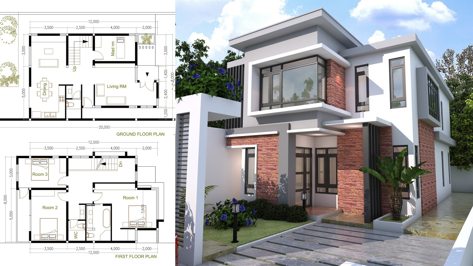 3 bedroom contemporary house plans sketchup modern home plan size 8x12m samphoas house plan 17980