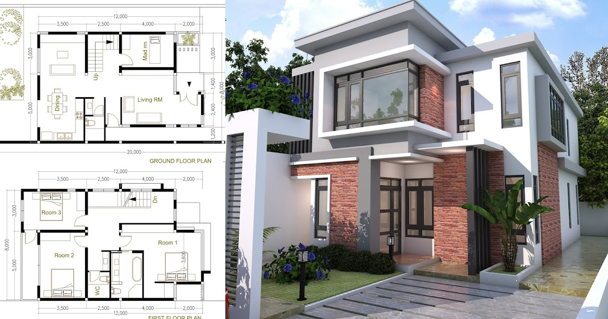 Sketchup modern home plan size 8x12m samphoas house plan for Modern 1 bedroom house plans