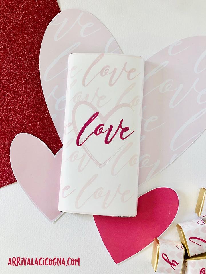 tavoletta di cioccolato rivesttita con fascetta di san valentino da stampare