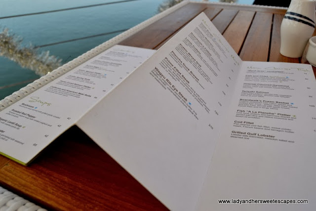 Boardwalk's a la Carte Menu