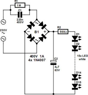 230V White LED Lamp Circuit Project