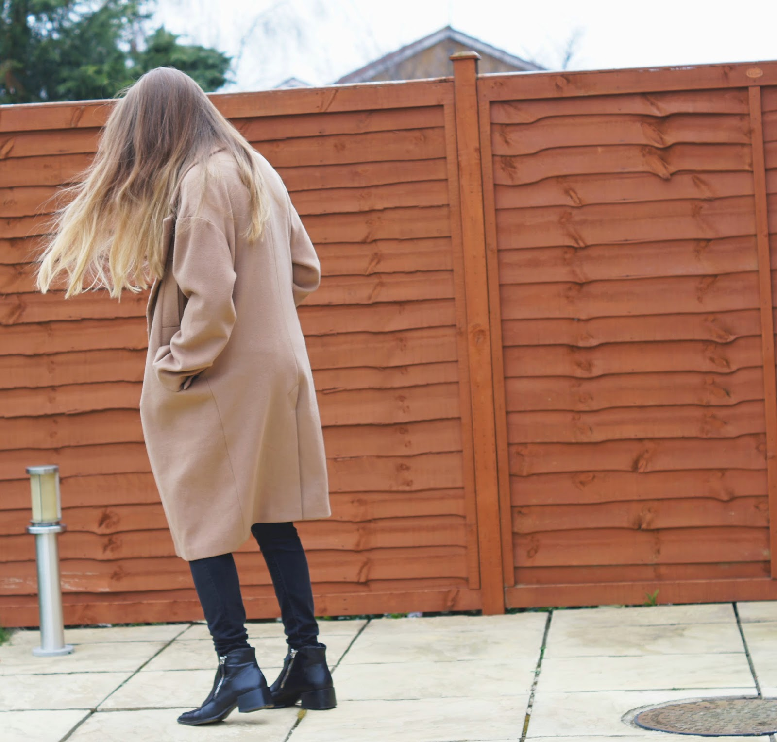 ASOS camel cocoon coat zara ankle boots