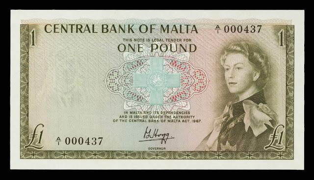 Malta Banknotes 1 Pound banknote 1967 Queen Elizabeth II