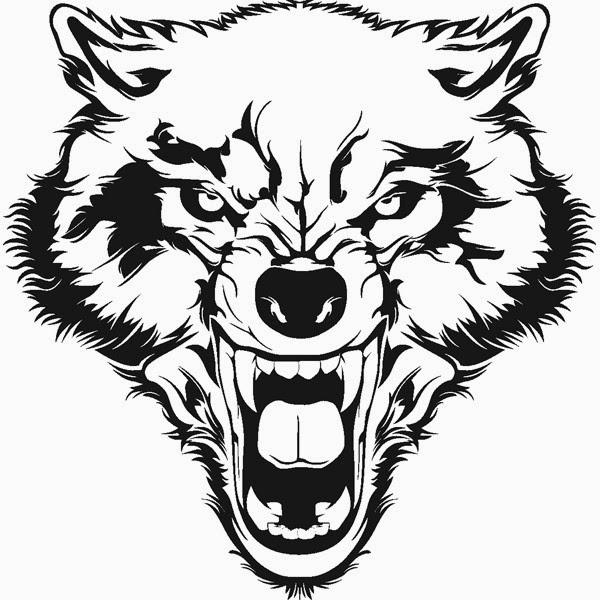 Wolf head tribal tattoo stencil
