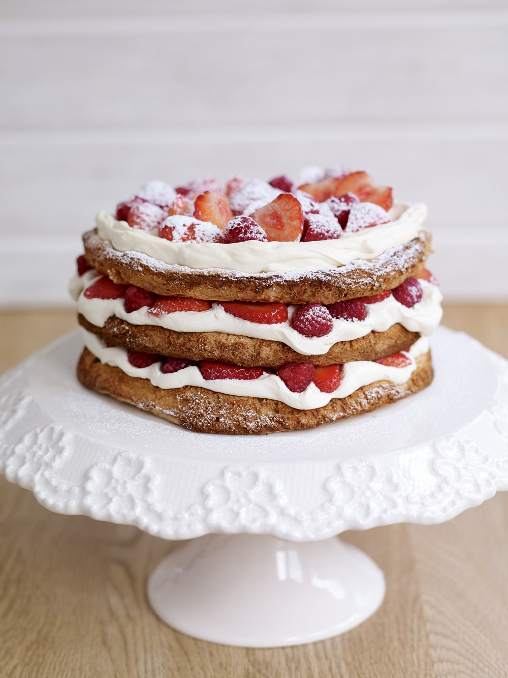 Hazelnut Meringue Layer Cake With Strawberries And Raspberries