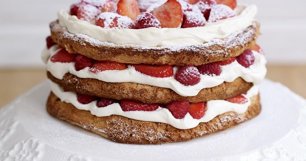 Hazelnut Meringue Cake With Raspberries