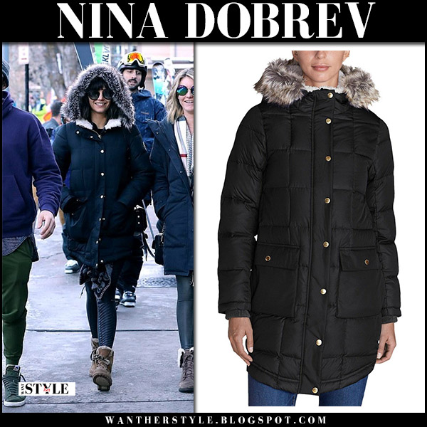 Nina Dobrev in black parka eddie bauer ilaria, black leggings and brown boots winter aspen fashion december 28