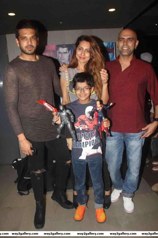 Karan Kundra Anusha Dandekar and Raghu Ram were present at the special screening of Batman v Superman Dawn of Justice