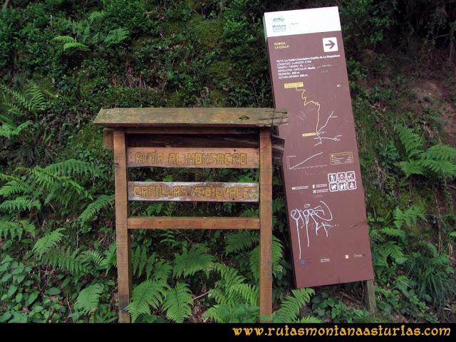 Ruta La Collada Monsacro: Carteles indicadores