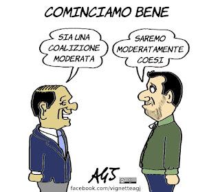 lega, forza italia, salvini, berlusconi, centrodestra, vignetta, satira
