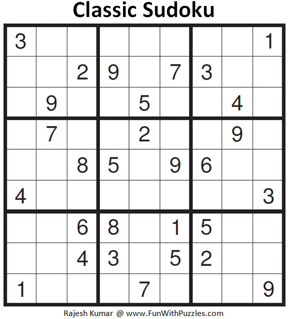 Classic Sudoku (Fun With Sudoku #156)