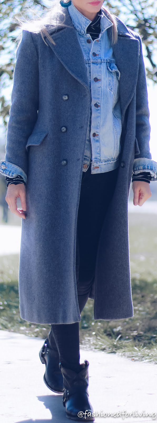 winter denim jacket outfit