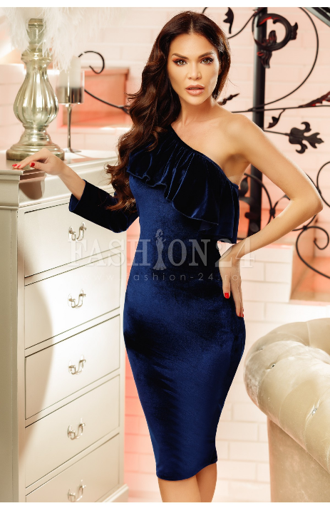 Rochie eleganta de seara, bleumarin, confectionata din catifea, cu o singura maneca si volanase