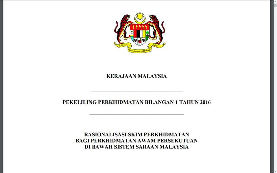 Http Www Mdhs Gov My Sites Default Files Pekeliling Perkhidmatan Bilangan 1 Tahun 2016 Rasionalisasi Skim Perkhidmatan Bagi Perkhidmatan Awam Persekutuan Di Bawah Sistem Saraan Malaysia Pdf