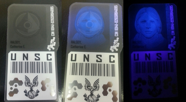 Limited Edition Halo Reach ID card with black light Easter Egg.