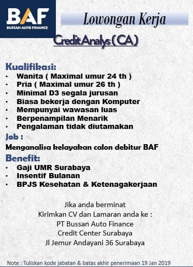 lowongan kerja creadit analys BAF surabaya