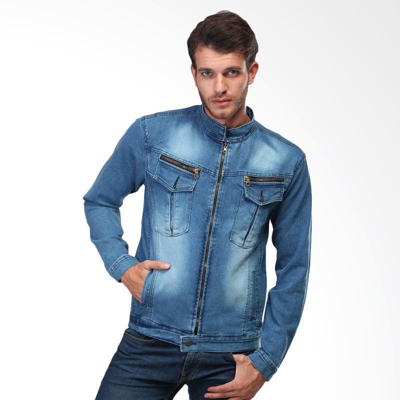Inficlo Jeans Stretch Lengan Panjang Resleting Jaket Denim Pria - Biru SPI 436