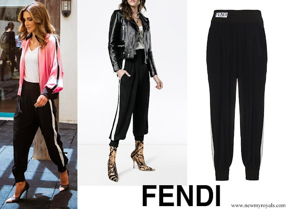 Queen Rania wore FENDI Stripe Logo Track Pants