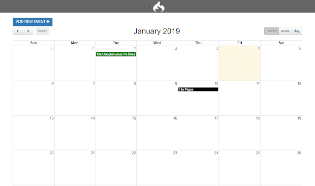 CodeIgniter - Event Calendar Using FullCalendar and MySQL