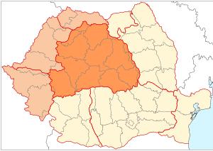 mapa de Rumanía, región de Transilvania