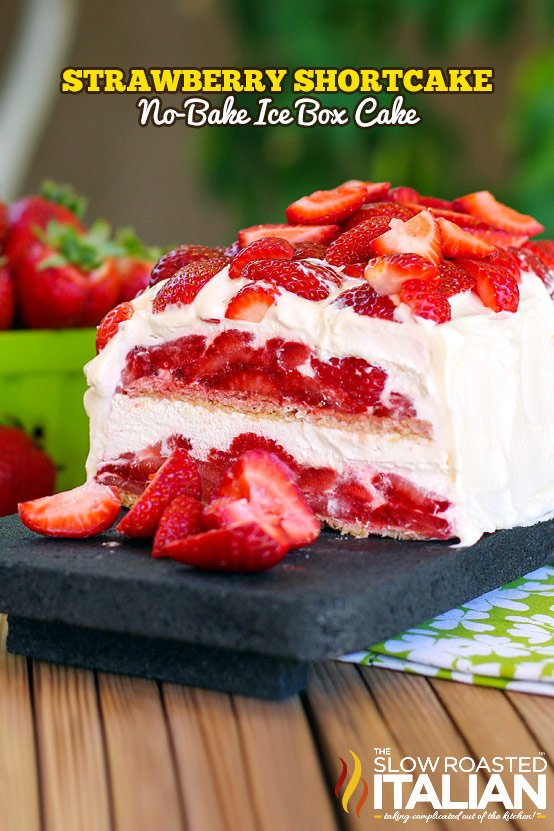 Layer upon layer of cookies, cream and luscious strawberries make up this insanely simple and delicious no-bake strawberry shortcake ice box cake recipe. #cake #recipe #nobake #strawberry @SlowRoasted  http://www.theslowroasteditalian.com/2013/08/strawberry-shortcake-no-bake-ice-box-cake-recipe.html