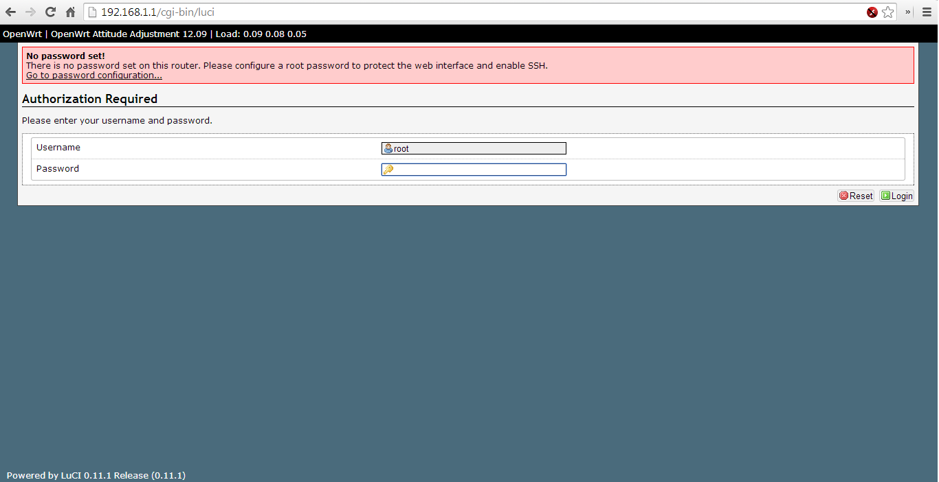 Página de administración de OpenWRT