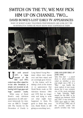 Feature on David Bowie's lost early TV appearances from The Camberwick Green Procrastination Society by Tim Worthington