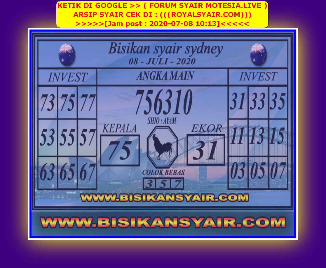 Kode syair Sydney Rabu 8 Juli 2020 67