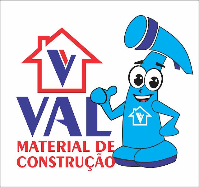 LOGOTIPO DESENVOLVIDO PARA EMPRESA  VAL MATERIAL  DE CONSTRUÇÃO -TRAVESSÃO DE BARRA-SFI-RJ