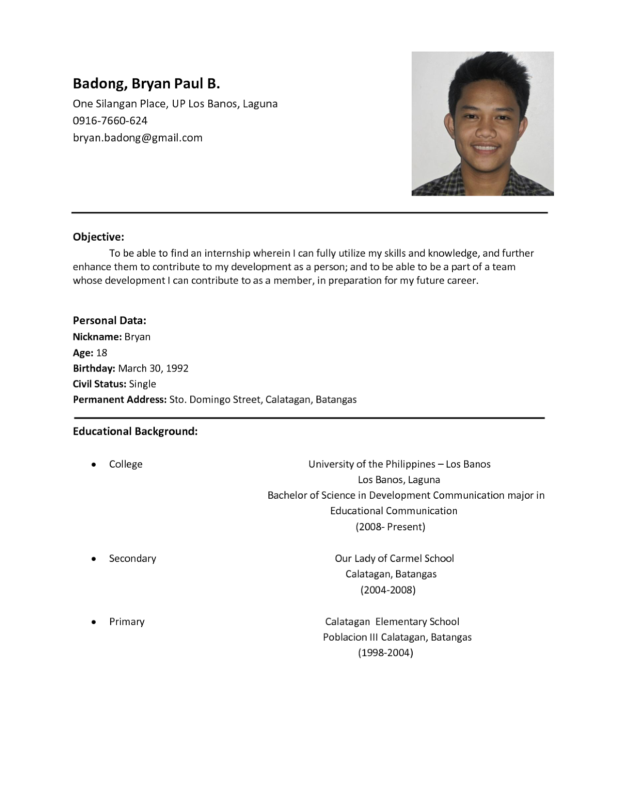 sample of the resume