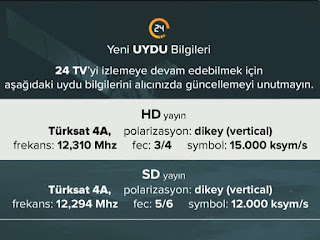 kanal 24 hd frekans bilgileri