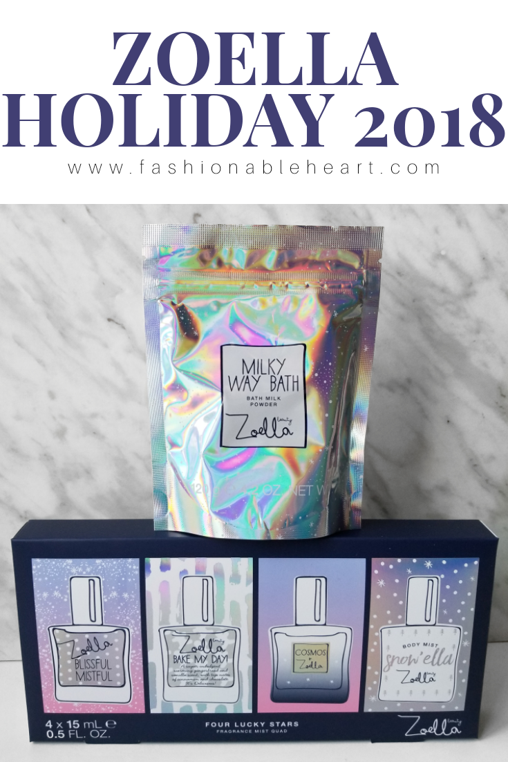 bblogger, bbloggers, bbloggerca, canadian beauty blogger, beauty blog, zoella, zoella beauty, holiday, 2018, cosmos, collection, four lucky stars, fragrance mist, body mist, blissful mistful, bake my day, cosmos, snow'ella, milky way bath, milky way bath milk powder, bath milk, galaxy, product review, perfume, scent