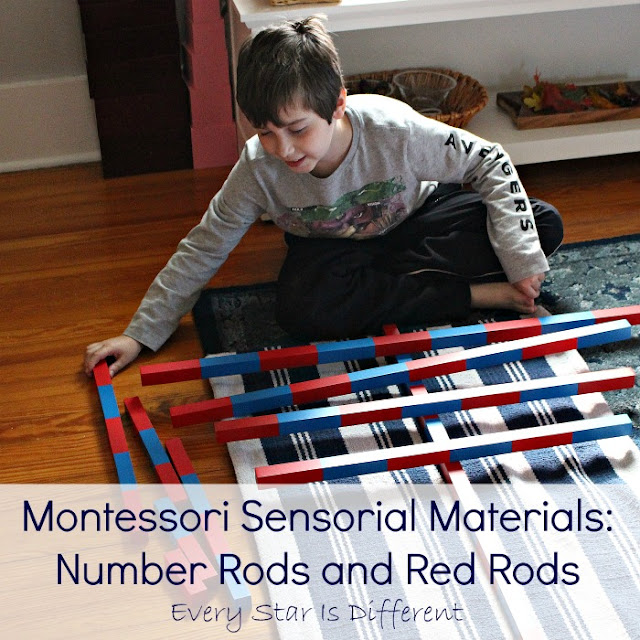 Montessori Sensorial Materials: Number Rods and Red Rods