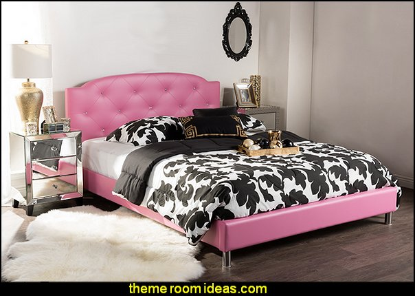 Hot Pink Faux Leather Queen-size Platform Bed