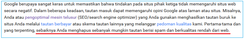 Menghapus Backlink Spam