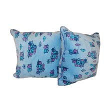 "Yuli Interior Blue Tetris Pattern 18"" Throw Pillows, Nigeria"